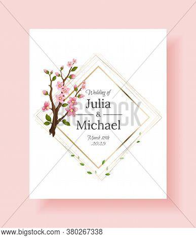 Sakura Flowers Background. Floral Wedding Invitation Card Template Design. Holiday Invitation, Greet