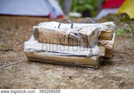 Bundle Of Firewood At A Campsite For Making A Fire