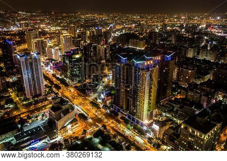 Taichung, Taiwan - November 15th, 2019: night scene of Taichung city with skyscrapers and buildings at Taichung City, Taiwan, Asia