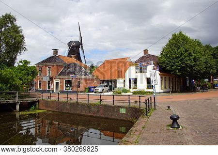 Eenrum, The Netherland - July 15, 2020: Historical Town Center Of The Small Dutch Town Of Eenrum Aga