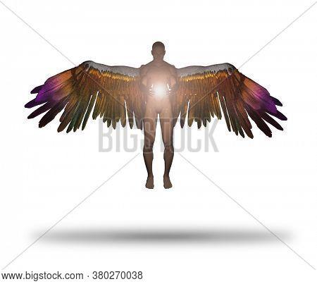 Angel being holds divine light. 3D rendering