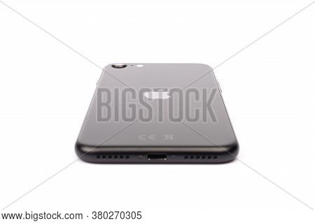 Paris, France - May 14, 2020: Design Of The New Black Iphone Se 2020 From The Multinational Company