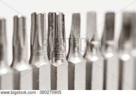 Close up shot of screw driver bits