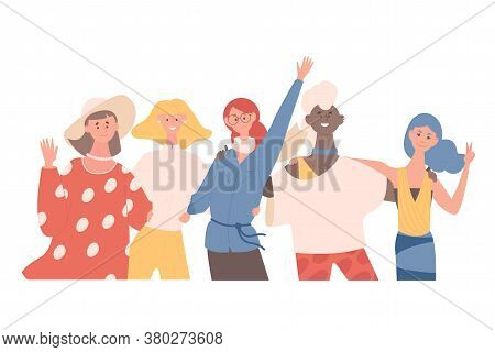 Happy Smiling Women Hugging And Waving Hands Vector Flat Illustration. Women Of Different Nationalit