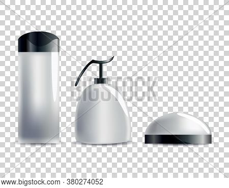 Realistic Blank Cosmetic Tubes. Set Of Unbranded Packages For Body Cosmetic. Vector Mock-up Isolated