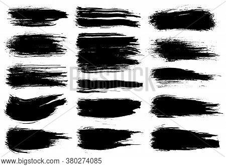 Paint Brush. Black Ink Grunge Brush Strokes. Vector Paintbrush Set. Grunge Design Elements. Painted