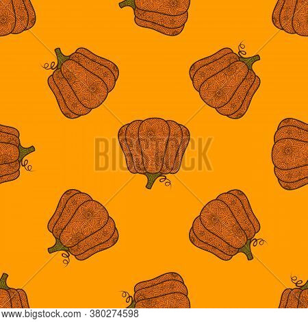 Halloween Pumpkin Pattern In Doodle Style. Zentangle. Decorative Vector Seamless Textile Ornament. D