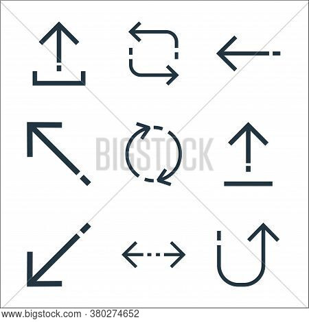 Arrows Line Icons. Linear Set. Quality Vector Line Set Such As Returning, Left Right, Diagonal Arrow
