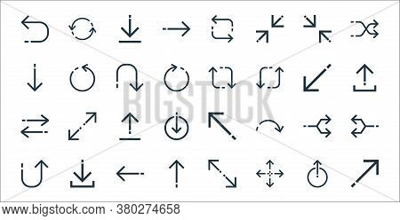 Arrows Line Icons. Linear Set. Quality Vector Line Set Such As Diagonal Arrow, Resize, Up Arrow, Ret
