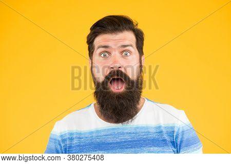 Wow. Real Surprise. Man Bearded Stylish Beard Yellow Background. Barber Tips. Beard And Mustache. Hi