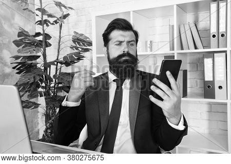 Sms Alert For Business Marketing. Bearded Man Read Sms In Smartphone. Sms Message. Sms Service. Text