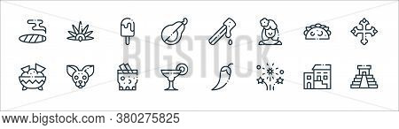 Mexico Line Icons. Linear Set. Quality Vector Line Set Such As Kukulkan, Fireworks, Margarita, Nacho
