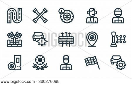 Auto Racing Line Icons. Linear Set. Quality Vector Line Set Such As Repair, Racer, Ticket, Finish Fl
