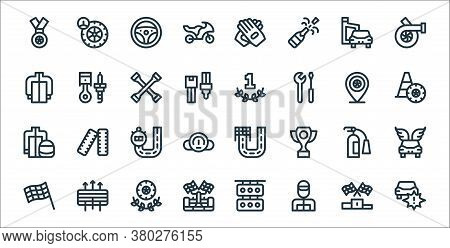 Auto Racing Line Icons. Linear Set. Quality Vector Line Set Such As Accident, Racer, Racing Car, Fin