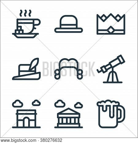 Europe Line Icons. Linear Set. Quality Vector Line Set Such As Beer Mug, Parthenon, Arc De Triomphe,