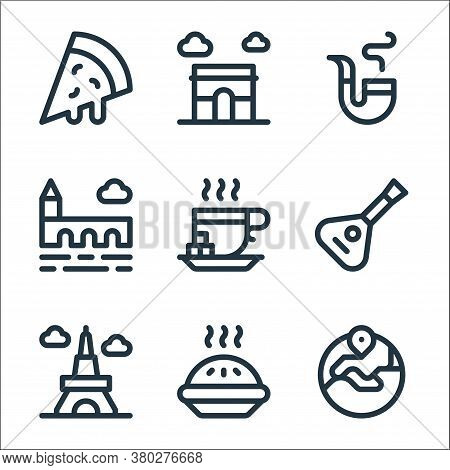 Europe Line Icons. Linear Set. Quality Vector Line Set Such As Europe, Apple Pie, Eiffel Tower, Bala