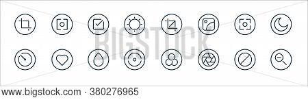 Camera Line Icons. Linear Set. Quality Vector Line Set Such As Zoom Out, Lens, Straighten, Timer, Ca