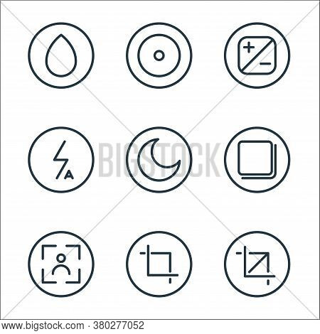 Camera Line Icons. Linear Set. Quality Vector Line Set Such As Crop, Crop, Camera, Page, Night Mode,