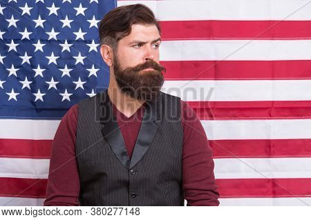 Bearded Man Migrant Apply For Citizenship Usa Flag Background, Government Politics Concept.