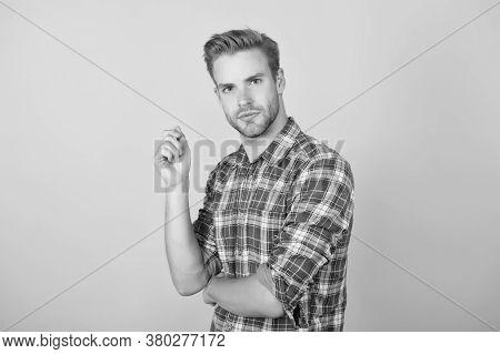 Interesting Idea On His Mind. Menswear Shop. Macho Man Wearing Checkered Shirt. Fashion Summer Trend