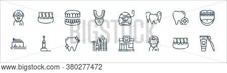 Dental Care Line Icons. Linear Set. Quality Vector Line Set Such As Toothpaste, Dentist, Dentist, To