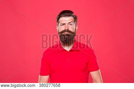 Hairdresser Salon. Unshaven Man With Beard. Portrait Of Bearded Man Red Background. Brutal Guy With