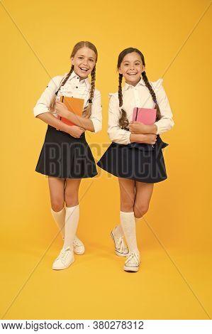 Friendship Goals. Cute School Girls With Books. First Day At School. Kids Best Friends Classmates. S