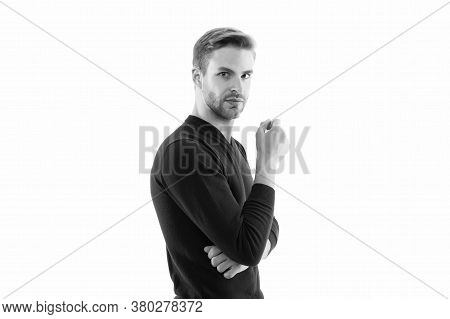 Facial Care. Handsome Man Isolated On White. Unshaven Man. Hipster Guy. Hairdresser Salon. Male Fash