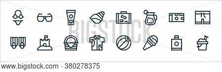 Summer Line Icons. Linear Set. Quality Vector Line Set Such As Beach, Ice Cream, Hawaiian Shirt, Fin