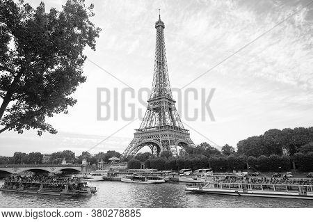 Paris, France - September 29, 2017: Seine River Cruises And Eiffel Tower. Boat Rides. Waterside Trip