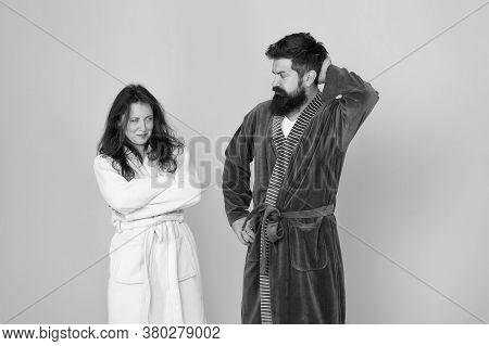 Sleepy People Blue Background. Couple In Love Bathrobes. Sleep Disorders. Drowsy And Weak In Morning