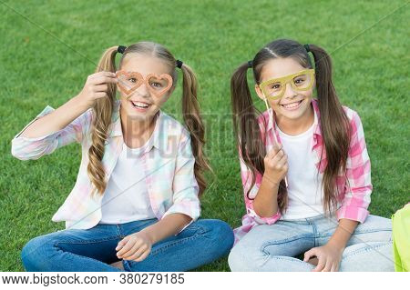 Carefree Kids Photo Booth Props Funny Eyewear Outdoors, Simple Happiness Concept.
