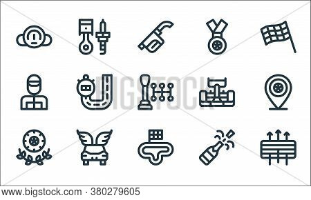 Auto Racing Line Icons. Linear Set. Quality Vector Line Set Such As Air Filter, Circuit, Winner, Cha