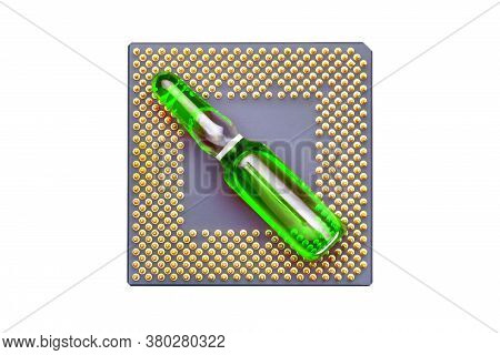 Glass Ampoule With Green Fluid For Vaccination Implantation Cpu Chip Implantation For Surveillance A
