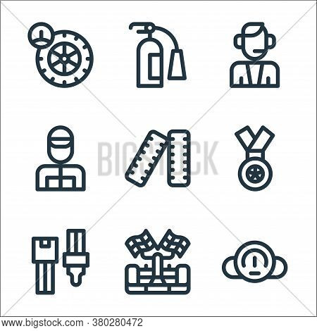 Auto Racing Line Icons. Linear Set. Quality Vector Line Set Such As Speedometer, Racing Car, Safety
