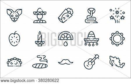 Mexico Line Icons. Linear Set. Quality Vector Line Set Such As Mexico, Moustache, Tacos, Guitar, Cig