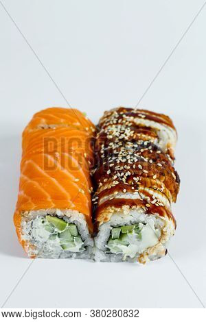 Sushi Assorted. Sushi Roll With Avocado, Cucumber. Sushi Roll With Salmon And Caviar. Sushi Roll Wit