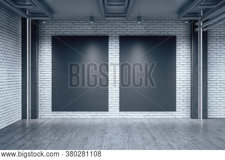 Modern Warehouse Interior With Two Blank Vertical Poster On Wall. Design And Style Concept. Mock Up,