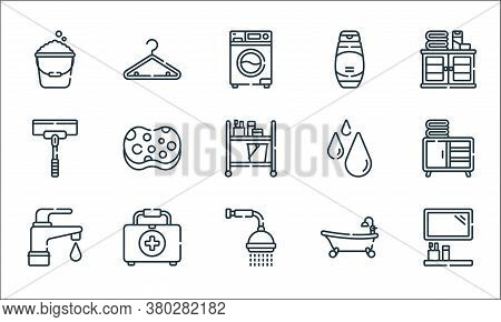 Bathroom Line Icons. Linear Set. Quality Vector Line Set Such As Mirror, Shower, Tap, Bathtub, First