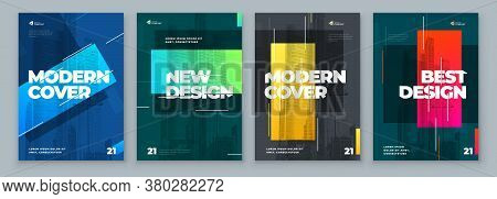 Set Of Brochure Design Cover Template For Brochure, Catalog, Layout With Color Shapes. Modern Vector