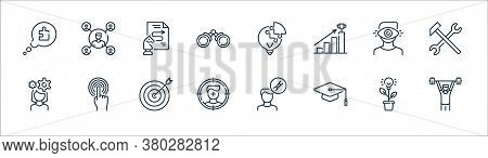 Life Skills Line Icons. Linear Set. Quality Vector Line Set Such As Man, Mortarboard, Target, Woman,