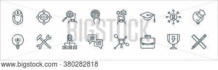 Life Skills Line Icons. Linear Set. Quality Vector Line Set Such As Ruler, Portfolio, Dialogue, Ligh