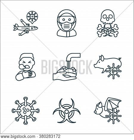 Coronavirus Line Icons. Linear Set. Quality Vector Line Set Such As Bat, Biohazard, Virus, Pig, Wash