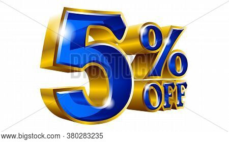 5% Off - Five Percent Off Discount Gold And Blue Sign. Vector Illustration. Special Offer 5 % Off Di
