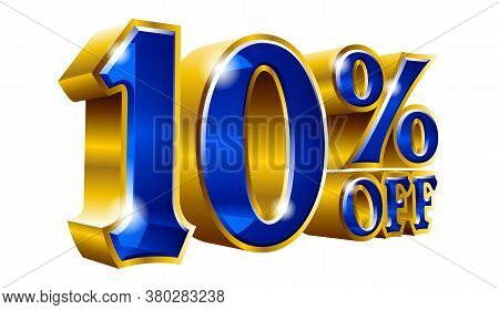 10% Off - Ten Percent Off Discount Gold And Blue Sign. Vector Illustration. Special Offer 10 % Off D