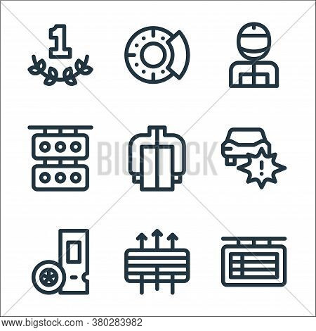 Auto Racing Line Icons. Linear Set. Quality Vector Line Set Such As Scoreboard, Air Filter, Ticket,