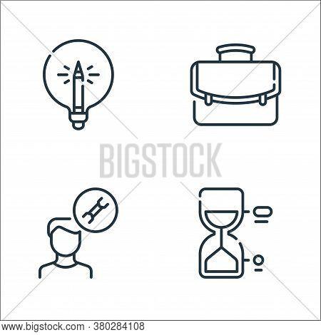 Life Skills Line Icons. Linear Set. Quality Vector Line Set Such As Hourglass, Man, Portfolio