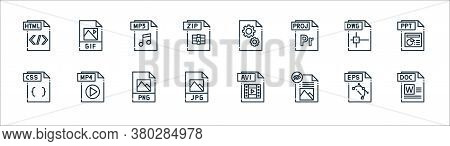 File Type Line Icons. Linear Set. Quality Vector Line Set Such As Doc File, File, Jpg Css Dwg Mp Dll