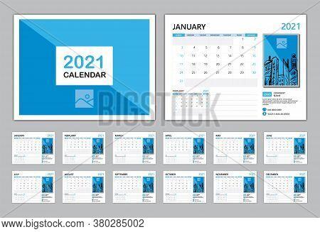 Calendar 2021 Template Vector, Set Desk Calendar 2021, Planner Vector Diary In A Modern Style, Week