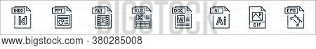 File Type Line Icons. Linear Set. Quality Vector Line Set Such As Eps File, Gif File, Ai Doc Xls Avi